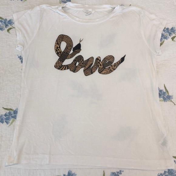 1bdf15ba282f H&M Tops   White Tshirt Love Snake Copper Size Large   Poshmark